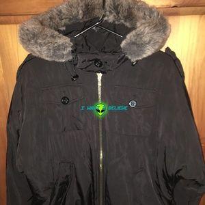 1 Madison Black Coat w/faux fur - XSmall